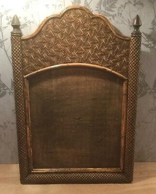 Large Vintage Rattan & Bamboo Frame For Mirror/picture/chalkboard