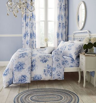 Catherine Lansfield Canterbury Floral Bright Blue Bedding Duvet Cover