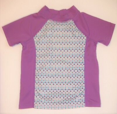 LAND'S END 3T Toddler Purple Dotted Short Sleeve Stretch Shirt Top 3T