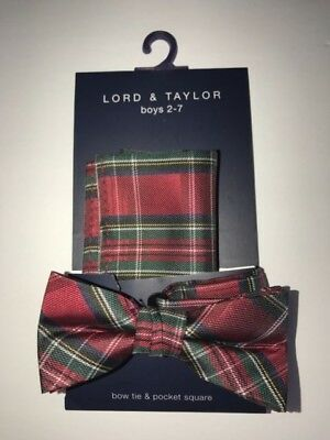 Boys 2-7 Lord & Taylor Christmas Holiday Bowtie with pocket square - excellent!