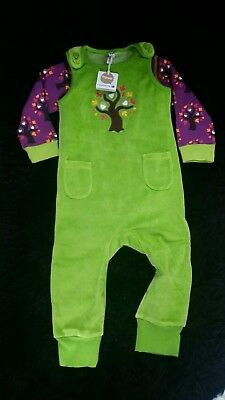 Maxomorra  Oak Tree velour embroidered playsuit + LS bodysuit. Both New withTags