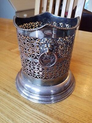 Vintage Silver Plated Wine Bottle Coaster Holder With Lion Handles