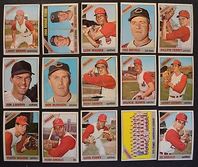 1966 Topps Cleveland Indians Team partial set lot 22 w/ semi high #s