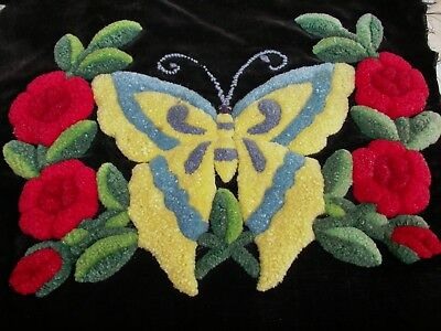 """Antique Art Deco Flapper Velvet Wool Punch Work Butterfly Rose Fabric 15"""" Square"""