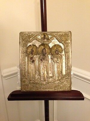 Early 19th century Russian Icon Depicting Christ Pantocrator, St Basil & Patrons