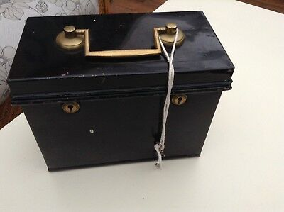 Rare Vintage Old Antique Metal Brass Strong Safe File Box Double Key Lock