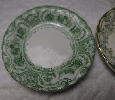 "2 Antique England Green & White Butter Pat 3 1/8"" Wide england or .. vintage"