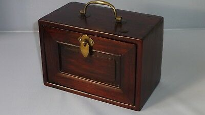 Chinese Antique 19th Century Hardwood Huanghuali? Tea Caddy Box Wax Seal Mark