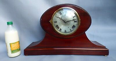 A Good Clean Mahogany Cased Gong Strike Mantle Clock By Wlm Gilbert  *serviced*