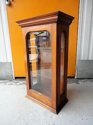Vintage Antique Wooden Gents Patent Shop Display Cabinet / Barbers / Tattoo