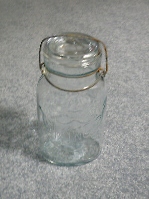 Oval King and Square Queen clear canning jars,  Glass top, Boston