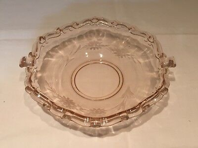Vintage Hexagon Pink Depression Glass Two Handle Candy Dish with Flower Etching