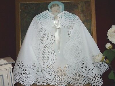 Antique Handworked Broderie Anglaise Christening Cape GC.