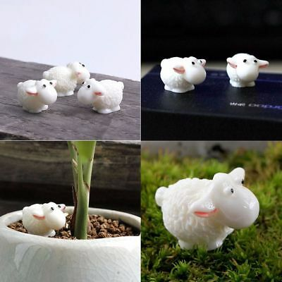 5pcs/lot Home Decor Garden Sheep Ornaments Figures Animals Statue Resin Craft