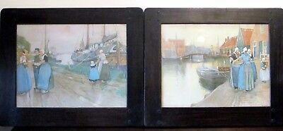 Pair of Liberty & Co Framed and Glazed Henri Cassiers Prints Circa 1900
