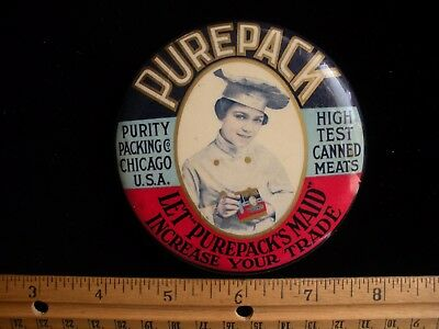Purepack Maid Chicago ILLINOIS Canned Meat Mfg Paperweight Pocket Mirror