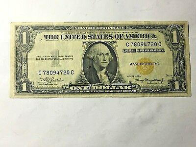 Silver Certificate North Africa 1 Yellow Seal Dollar Bill 1935A