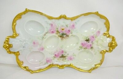 Antique French Limoges Egg Tray Pink Tea Roses Gilded Border  Antique French Lim