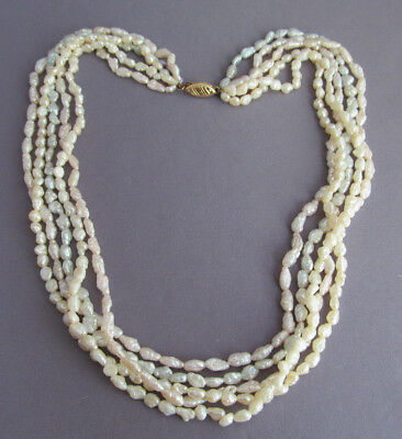 Vintage 14K Yellow Gold Fresh Water Pearl 5 Multi Strand Necklace