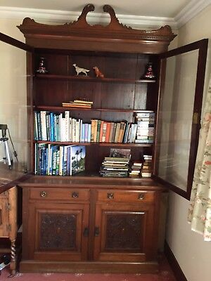 Two Tier Glazed Victorian Mahogany Bookcase circa 1890 Antique