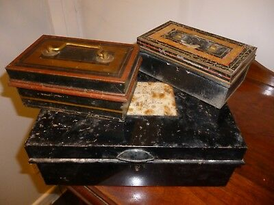 Antique metal cash/deed boxes