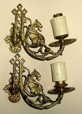 Pair Antique Gryphon Gilt Brass Wall Lights Sconces