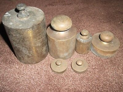 6 assorted small vintage vintage Brass weights  great condition for their age