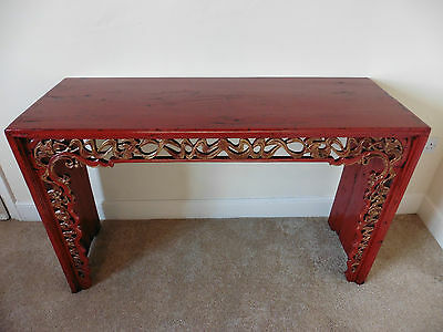 Carved Vintage Oriental Chinese Altar Table Red Lacquered Chinoiserie Painted