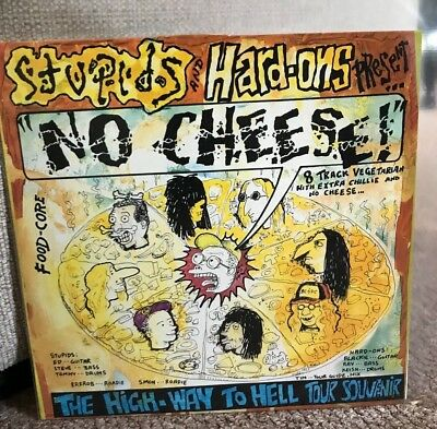 """Stupids & Hard-Ons - No Cheese! (The High-Way To Hell Tour) Yellow 10"""" + Insert"""