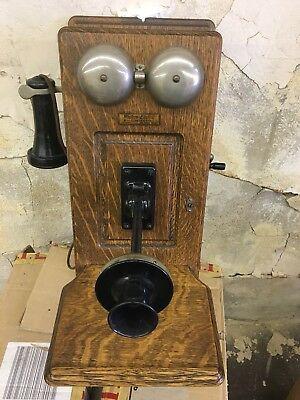 Antique Western Electric Oak Wood Hand Crank Wall Telephone Restore or Parts