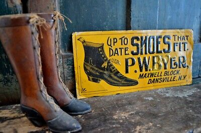 Early Embossed Tin Sign Litho Sign P. W. Byer Shoes That Fit *