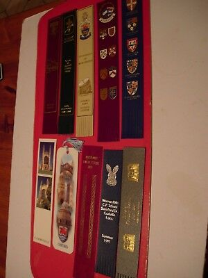 8 Leather Bookmarks + 2 Card - From Universities and Schools -See other pictures