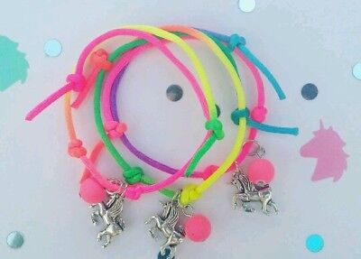 Unicorn charm bracelet kids / girls rope bangle wrist jewellery party bags UK