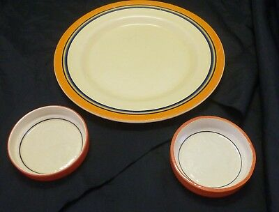 Clarice Cliff Three Pieces. Plate and two pin dishes