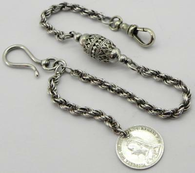 Victorian Silver Albertina Watch Chain with Coin Fob, c1900.