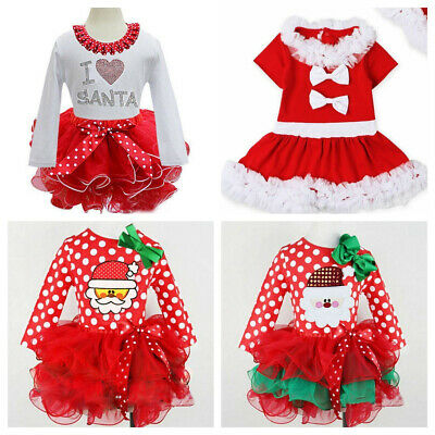 Child Girls Kids Christmas Party Santa Tulle Tutu Skirts Dresses Outfit