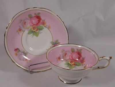 Paragon Pink with Flowers White Gold Trim Cup & Saucer Double Warrant