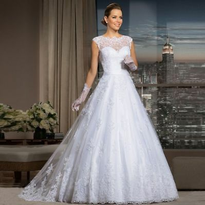 Illusion Lace Appliqué Tulle wedding gown, UK 10, white
