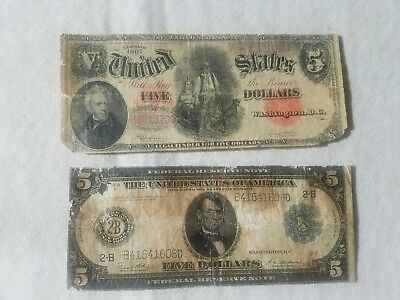 "2 old 5$ notes.SERIES 1907  5$ ""WOODCHOPPER"" red seal..1914  fed res NY 5$ note"