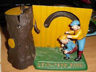 The Book of Knowledge Leap Frog Cast Iron Mechanical Bank