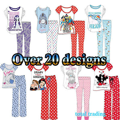 Womens Ladies Official Disney Pyjama Set Pjs Pajamas Nightwear Loungewear