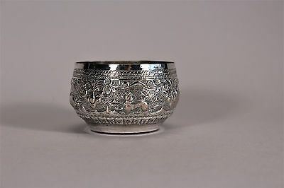 Antique Thai Siamese Silver Bowl Repousse Animals Leaf Scroll Chiangmai 19thC