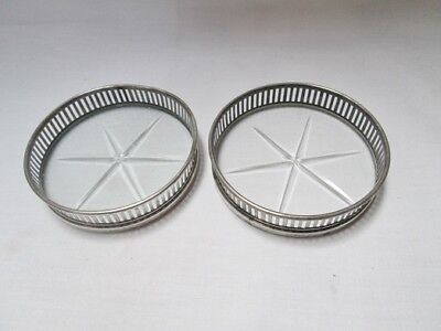 Vintage Pair of Sterling Silver Rim and Glass Drink Coasters