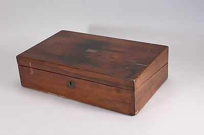 Antique Georgian Wood Travelling Lap Desk Sloped Top