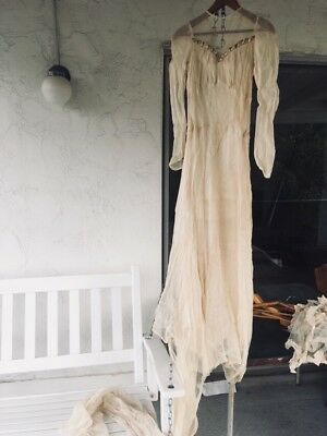 Vintage Antique wedding dress train gown with veil 1940s or earlier