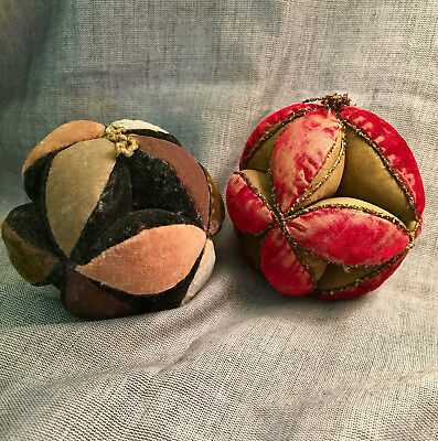 Two late 19th century velvet silk Amish puzzle balls