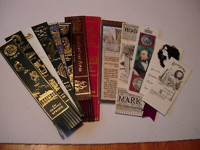 8 Leather + 6 Card Bookmarks - Authors, Poets &Famous People - vgc -See pictures