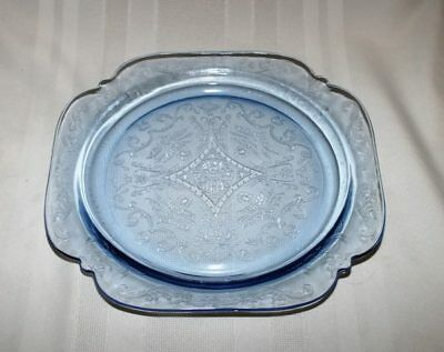"""(4) Madonna Blue Vintage Federal Glass Madrid Recollection 10 1/4"""" Dinner Plates"""