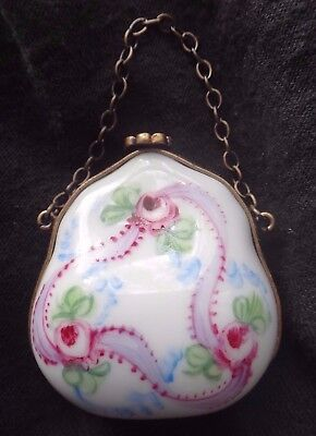 Vintage LIMOGES Porcelain Signed Handbag PILL BOX Hand Painted