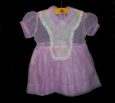♡ Vintage 1950s Mid-Century Lavender Girls Sheer 100% Nylon Dress ♡